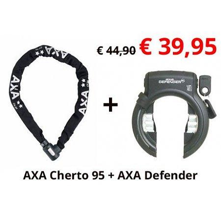 2e fietsslot aanbieding: AXA Cherto Compact 95 + AXA Ringslot Defender