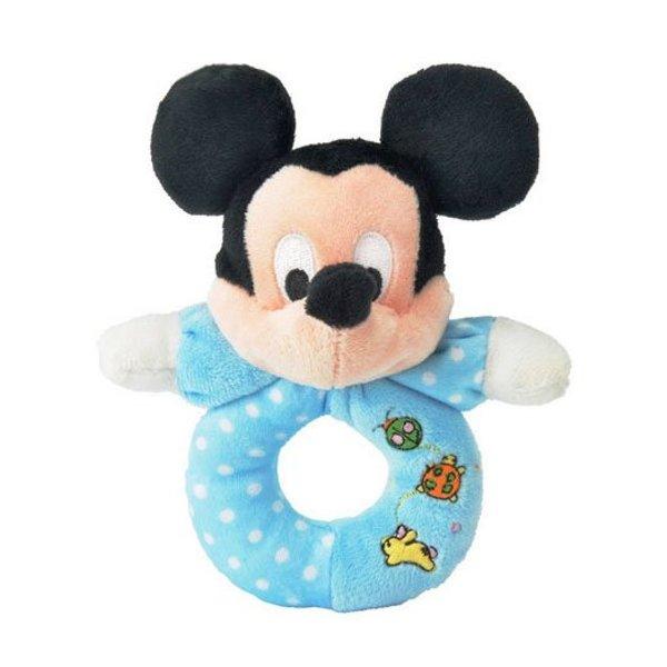Mickey Mouse baby pluche rammelaar / bijtring blauw
