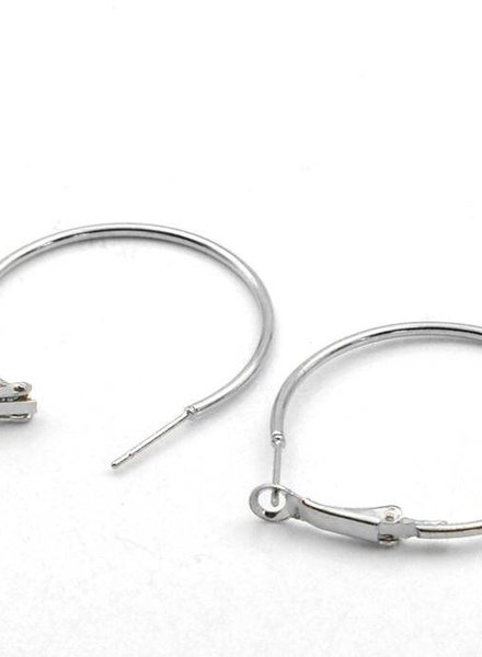 Earring Hoops Silver 4cm per pair
