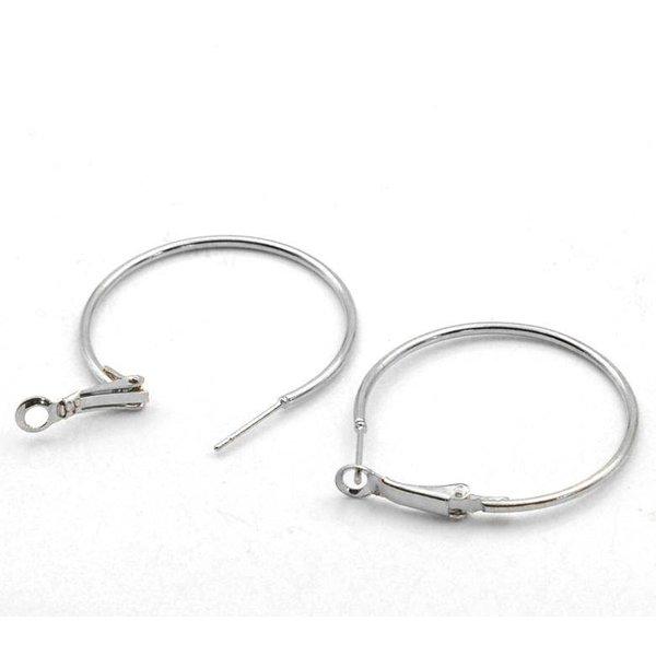 Earring Hoops Silver 4cm per pair