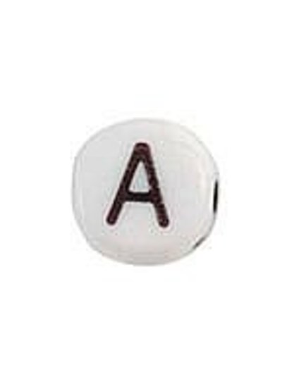Alphabet Bead Acrylic Black White 7mm A