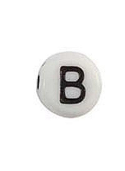 Letter Bead Acrylic Black White 7mm B