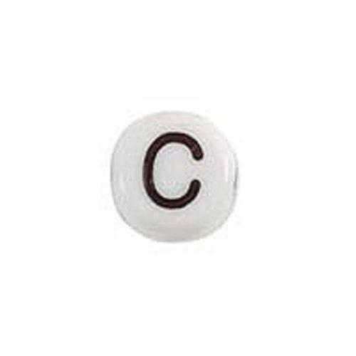 25 pieces Letter Bead Acrylic Black White 7mm C