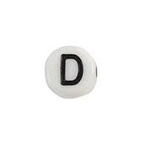 25 pieces Letter Bead Acrylic Black White 7mm D