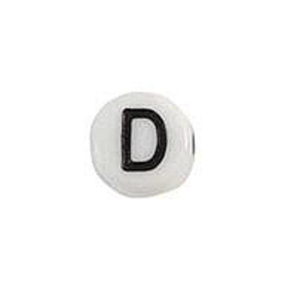 Letter Bead Acrylic Black White 7mm D