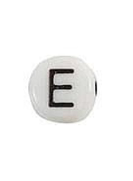 Letter Bead Acrylic Black and white 7mm E