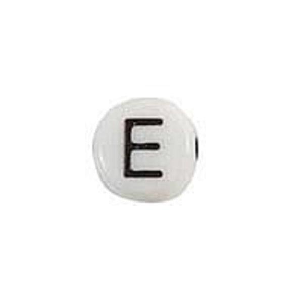 Letterkraal Acryl Zwart wit 7mm E, 25 stuks