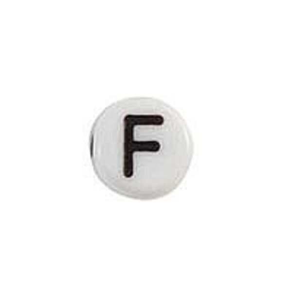 Letter Bead Acrylic Black White 7mm F, 25 pieces