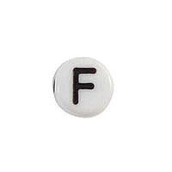 Letter Bead Acrylic Black White 7mm F