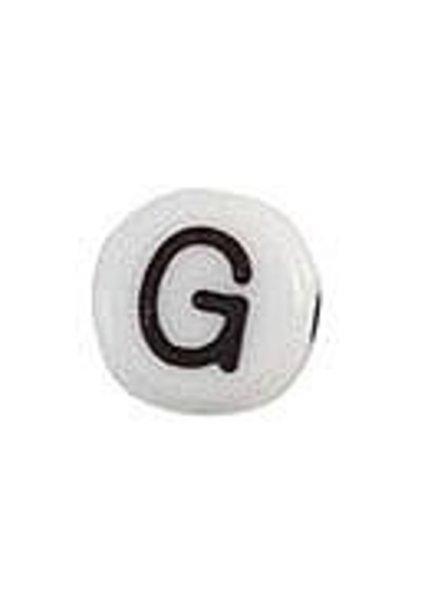 Letter Bead Acrylic Black White 7mm G