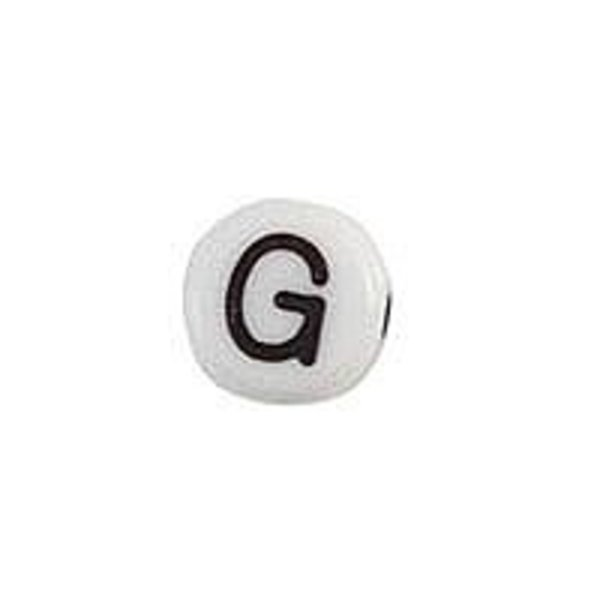 Letter Bead Acrylic Black White 7mm G, 25 pieces