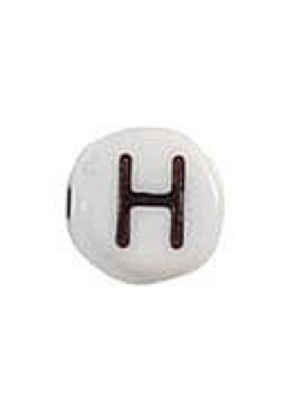 Letter Bead Acrylic Zwatr White 7mm H