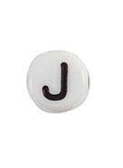 Letter Bead Acrylic Zwatr White 7mm J