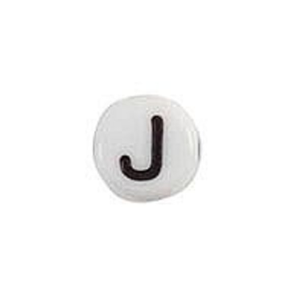 Letter Bead Acrylic White 7mm J, 25 pieces
