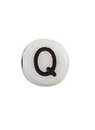 Letter Bead Acrylic Black White 7mm Q