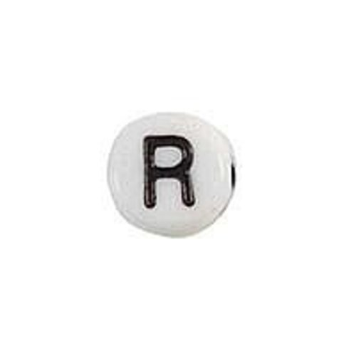 25 pieces Letter Bead Acrylic Black White 7mm R