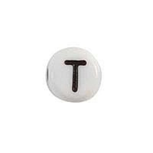 25 pieces Letter Bead Acrylic Black White 7mm T