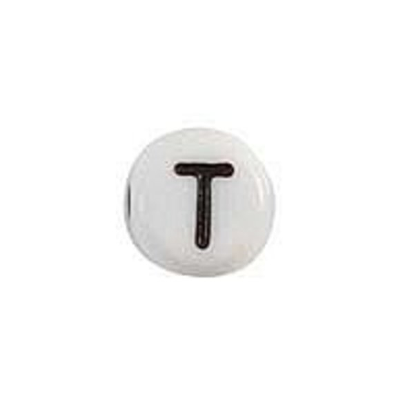 Letter Bead Acrylic Black White 7mm T, 25 pieces