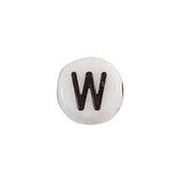 Letter Bead Acrylic Black White 7mm W, 25 pieces