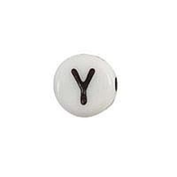 Letter Bead Acrylic Black White 7mm Y, 25 pieces