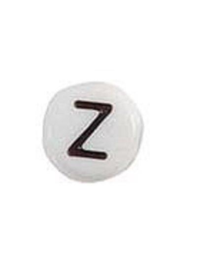 Letter Bead Acrylic Black White 7mm Z