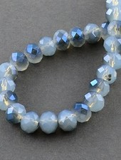 Blue-gray faceted beads 8x6mm, 10 pieces