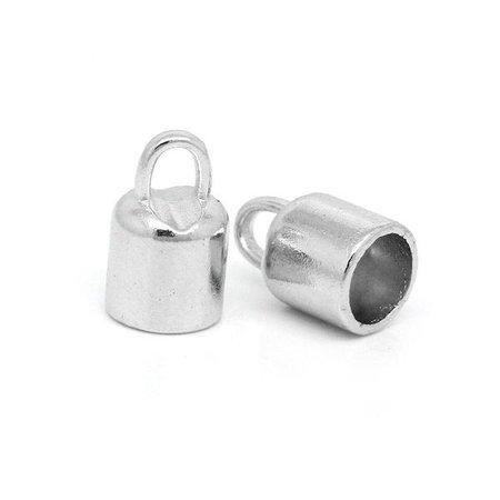 Eindkap Zilver voor 6mm Leer, 10 stuks