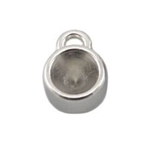 DQ Charm 12x8mm Silver for Pointstones ss29 /6mm