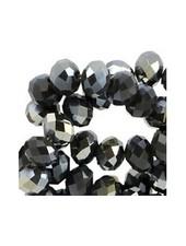 25 stuks Facet Glaskralen Zwart Shine 6x4mm