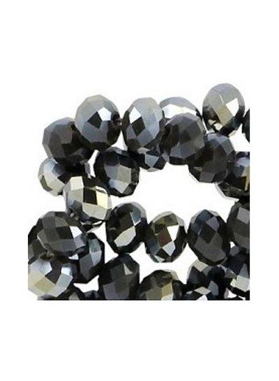 Facet Bead Black Shine 6x4mm, 30 pieces