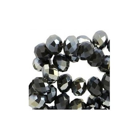 30 pcs Facet Bead Black Shine 6x4mm