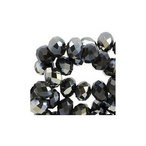 50 stuks Facet Glaskralen Zwart Shine 6x4mm