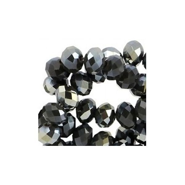 Facet Bead Black Shine 6x4mm, 30 pieces