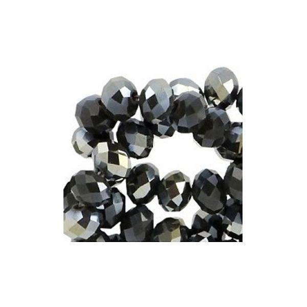 Facet Glaskralen Zwart Shine 6x4mm, 50 stuks