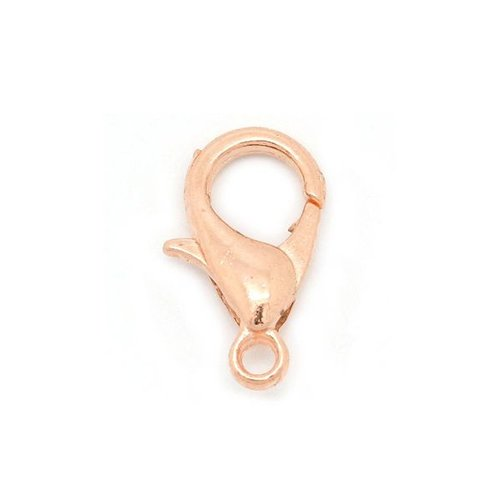 Lobster claw clasp 12x6mm Rose Gold, 5 pieces