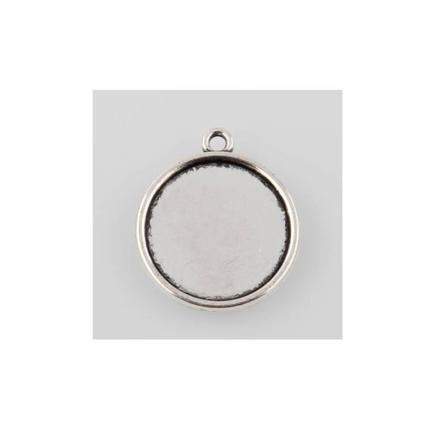 Round Silver Charm 26x23mm for 20mm