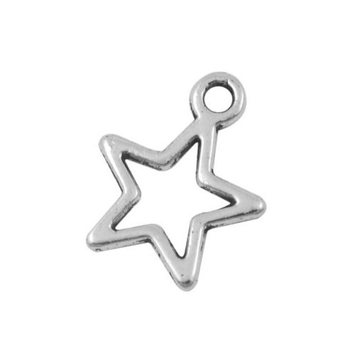 Star Charm Silver 14x12mm, 8 pieces