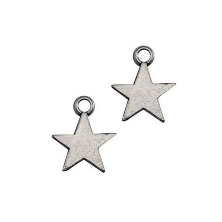 20 pcs Charm Star Silver 8x11mm