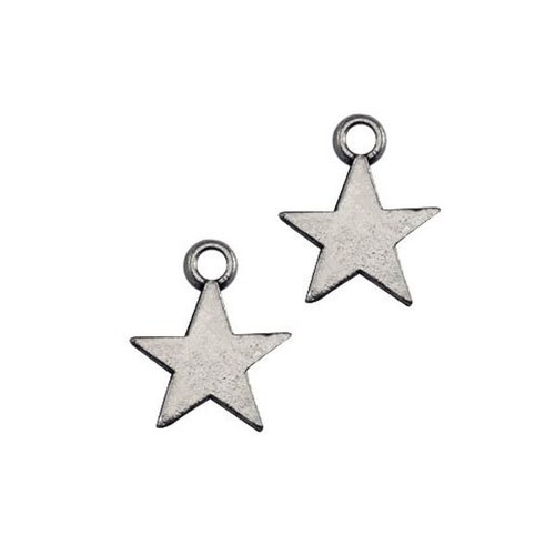 20 pcs Charm Star Silver 8x11mm
