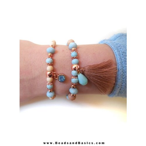 Blue and Rose Gold Elastic Bracelets