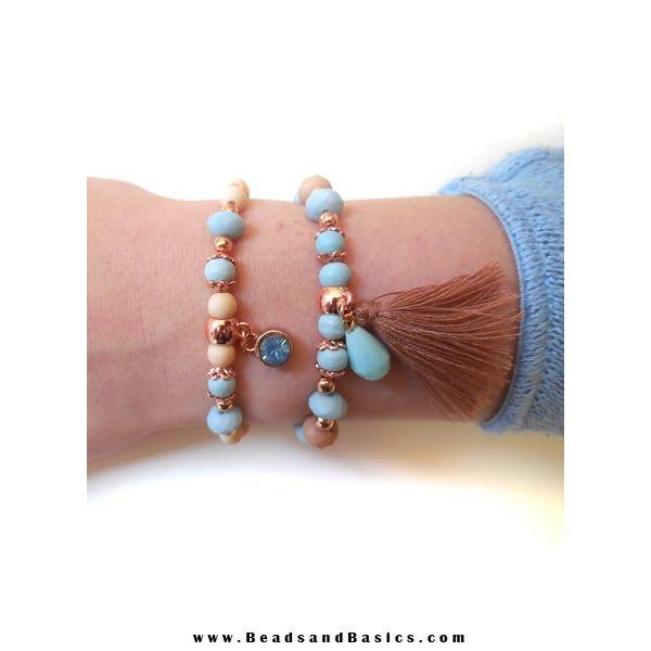 Blue and Rose Gold Elastic Bracelets