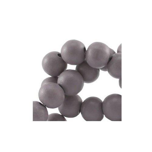 40 stuks Houten Kralen Grijs 6mm