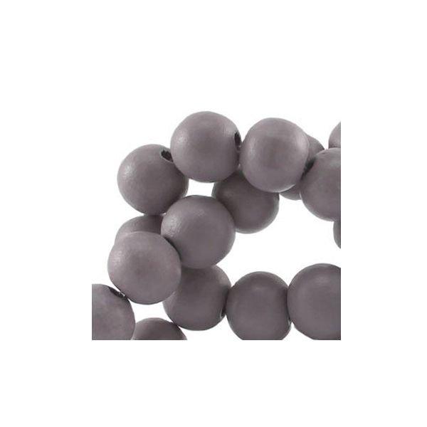 Houten Kralen Grijs 6mm, 40 stuks