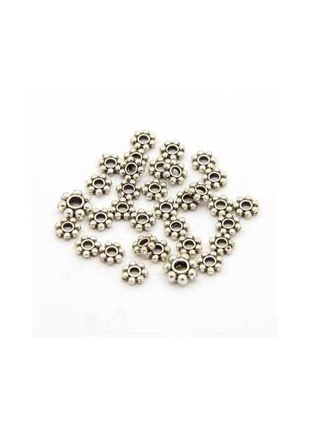 25 pcs Spacer Beads Silver 4mm
