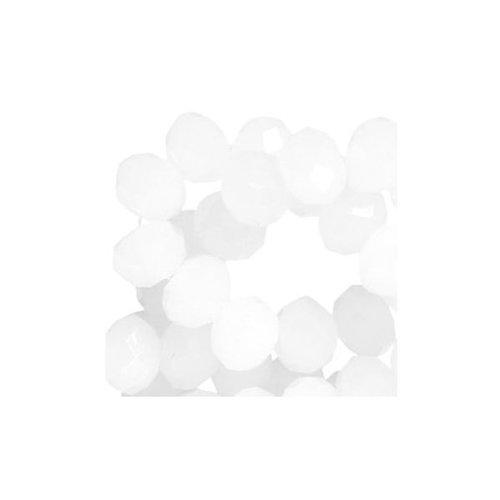 30 stuks Facet Glaskralen Wit 8x6mm