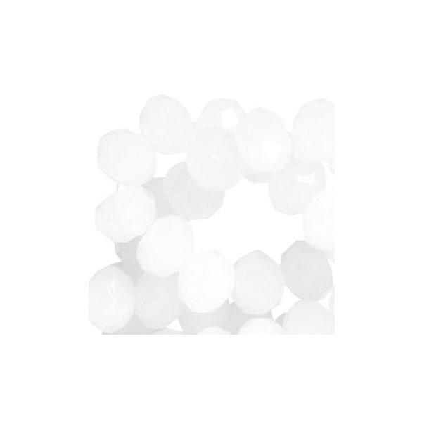 Facet Glaskralen Wit 8x6mm, 10 stuks