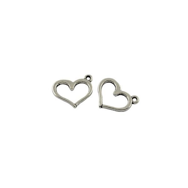 Silver Heart Charm 13x16mm, 6 pieces