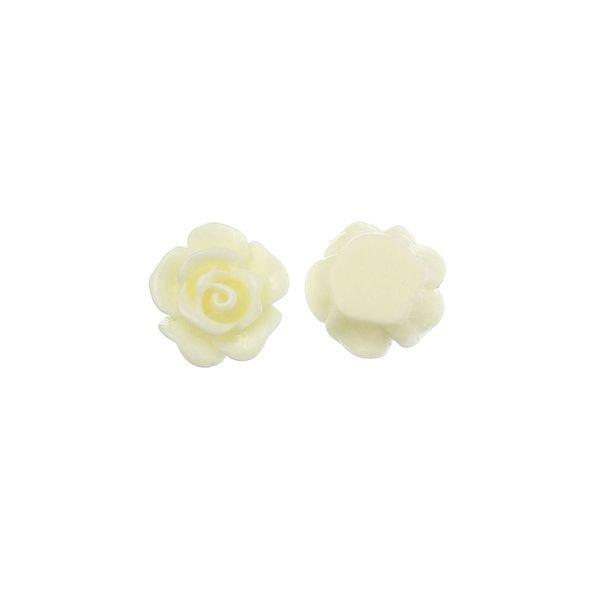 Roos Cabochon Wit 10mm, 8 stuks