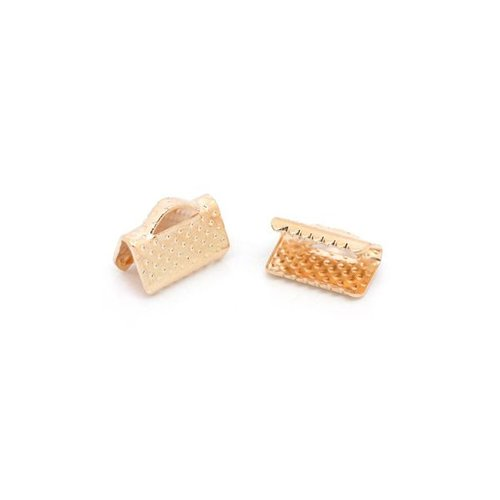 Fold Over Cord End  Rose Gold 8x8mm, 10 pieces