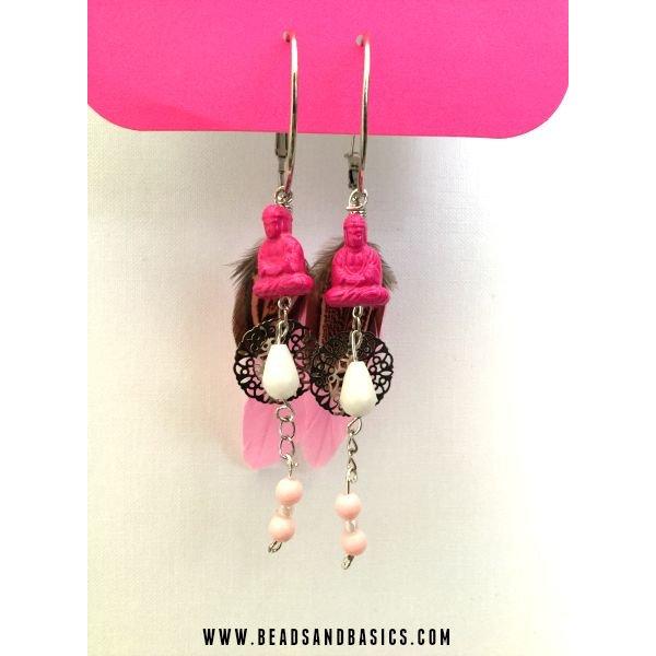 Roze Buddha oorbellen
